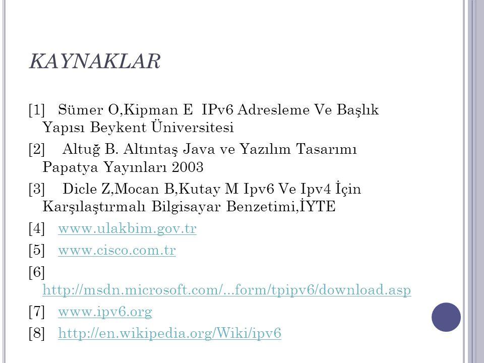 KAYNAKLAR [1] Sümer O,Kipman E IPv6 Adresleme Ve Başlık Yapısı Beykent Üniversitesi.